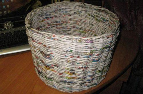 Корзинка из газетных трубочек для начинающих: пошаговое