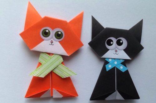 как сделать кота из бумаги оригами